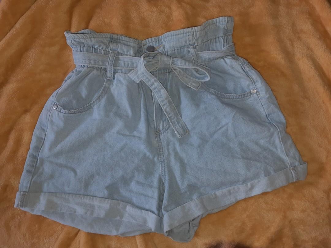 denim cotton on paper bag shorts size 10aus