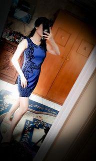 Dress biru printed