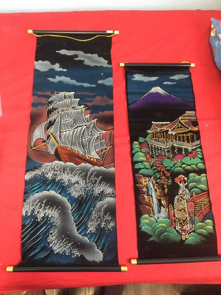 Japanese scroll wall tapestries