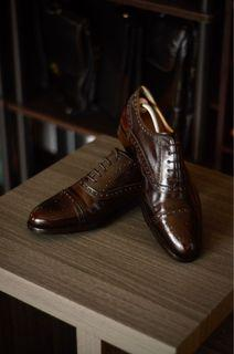 Roberto Morelli Brogued Cap Toe Oxfords Leather Shoes