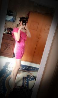Shoulder dress pink fusia