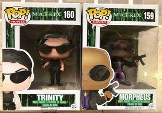 The Matrix Trinity and Morpheus Funko Pop set vaulted rare