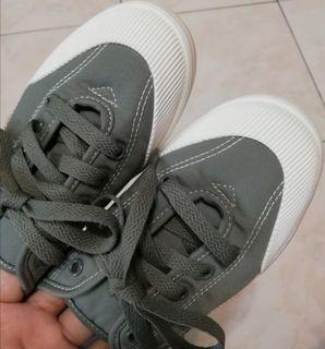 韓國 綁帶平底鞋/包鞋/布鞋/灰綠色/近全新