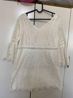 Air space 低胸V領蕾絲短洋裝,可議價