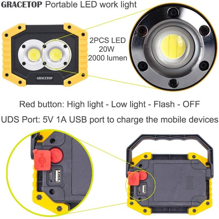 20W Waterproof COB LED Light Garden Car Fishing Work Night Rechargeable Lamp UK