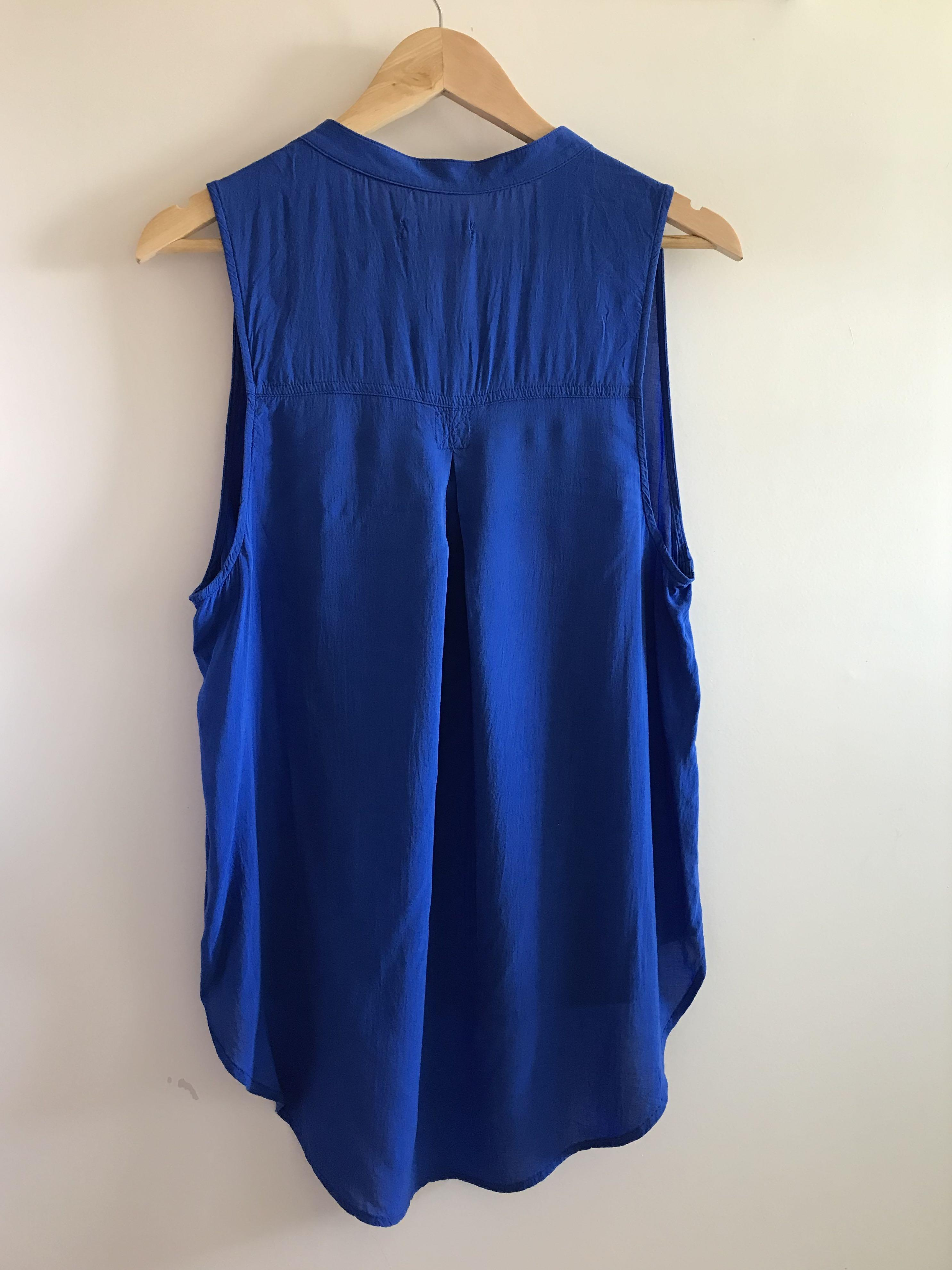Sleeveless Blue Blouse