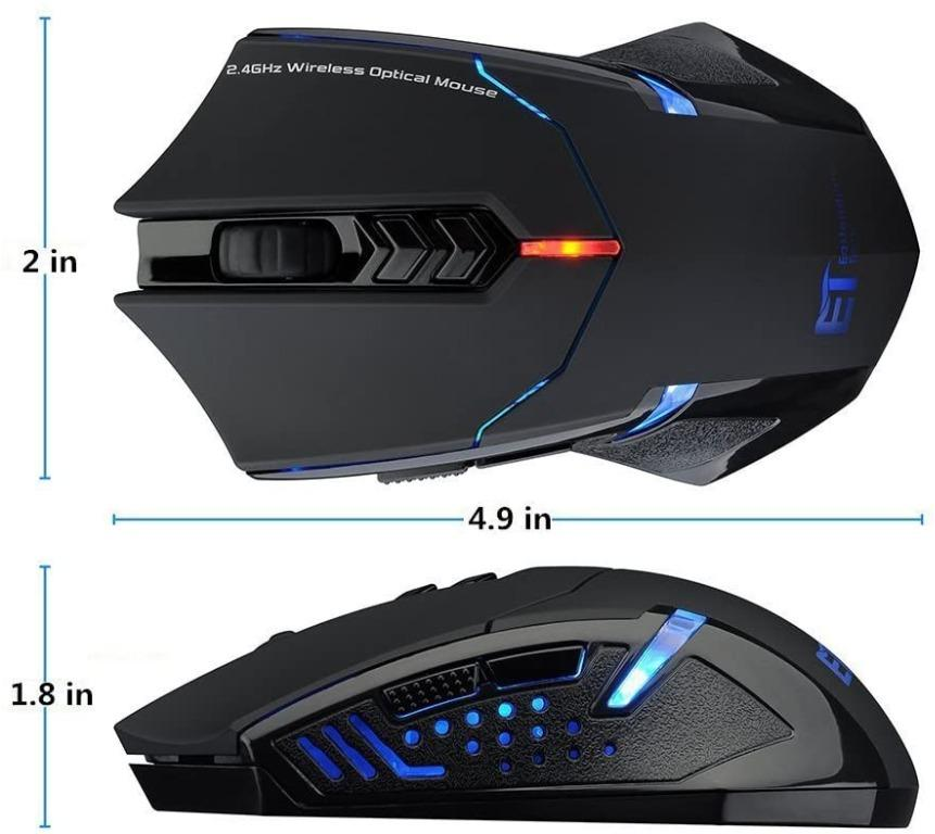 Wireless Gaming Mouse 2.4G Computer Mouse Wireless Mice with Quiet Button Design 2400DPI 7-Button for Laptop Notebook PC Laptop Computer Black