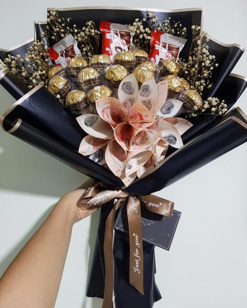 Chocolate Money Bouquet Gardening Flowers Bouquets On Carousell