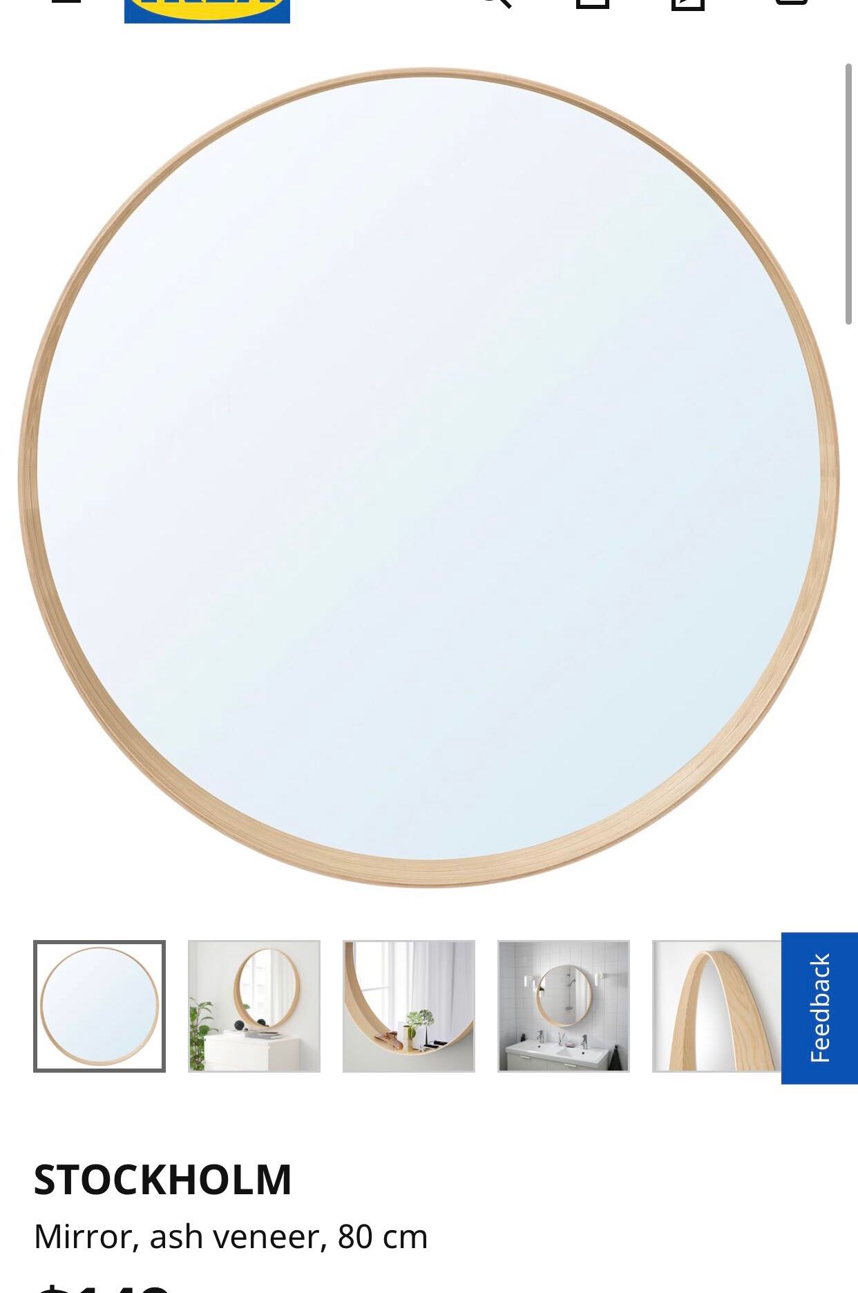 Ikea Stockholm Mirror 80cm Round Furniture Others On Carousell
