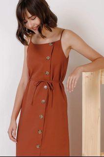 Kyra Curve Hem Midi Dress BNWT Rust