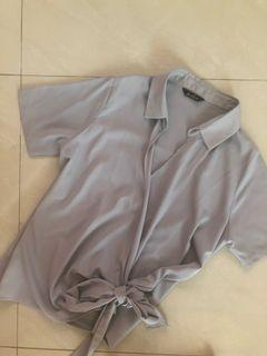 Le bijou grey side knot blouse