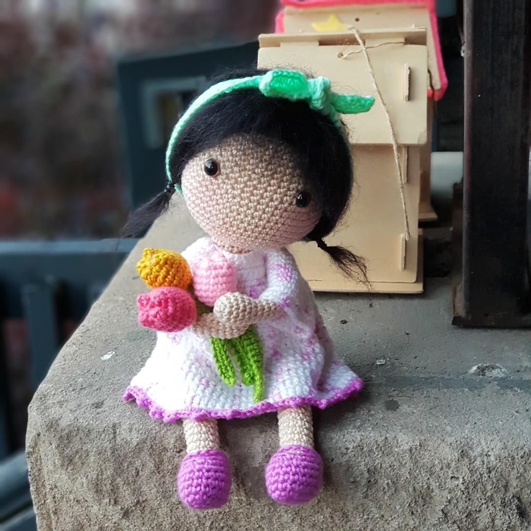 Mariko with Tulips, Premium Crochet Doll - Ready to ship