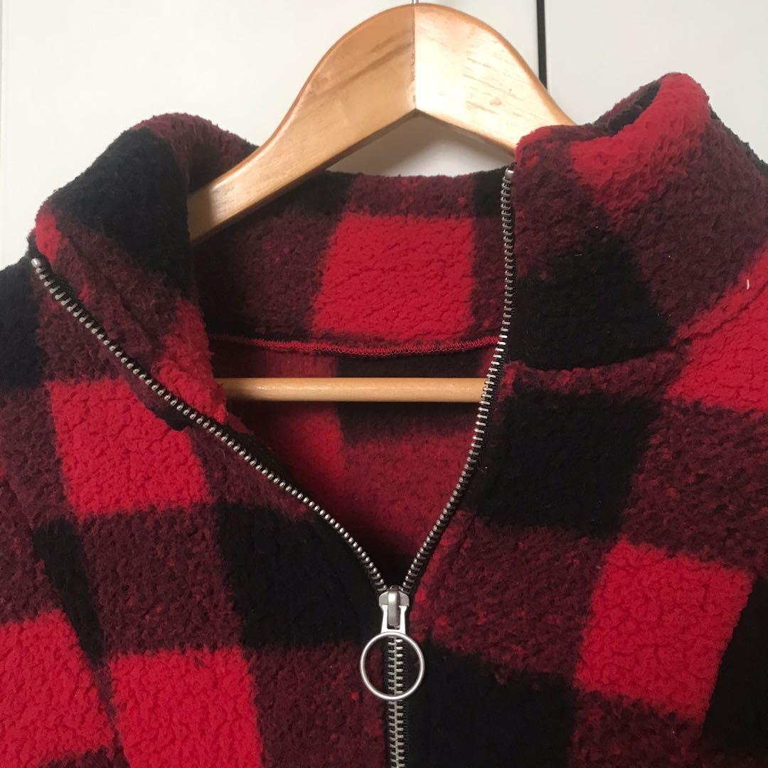oversized fleece jumper checkered primark