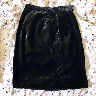 古著復古絲絨高腰裙
