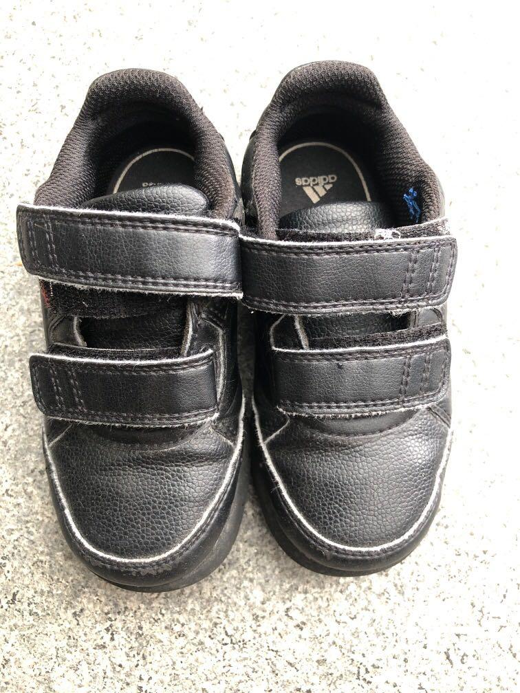Adidas black shoes with Velcro strap