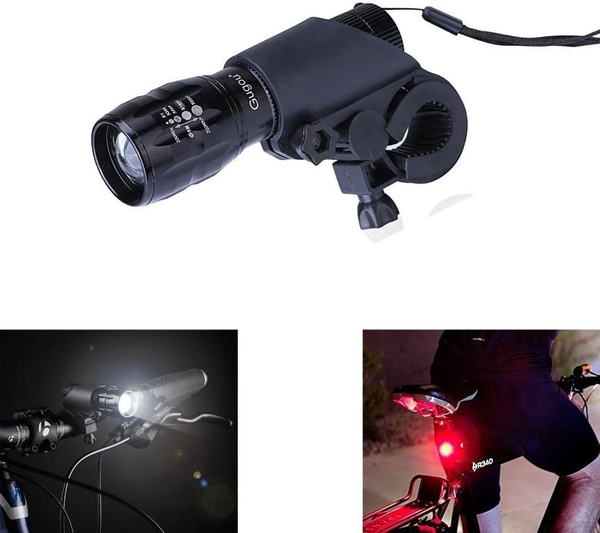 Bike Lights 3000mAh Super Bright Bike Front Light 6 Lights Modes USB Chargeable Bike Front and Back Rear Lights IPX5 Waterproof Aluminum Alloy Bike Headlight Compatible with Mountain,Street,Bikes-BLK