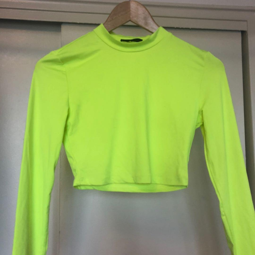 Neon green cropped long sleeve