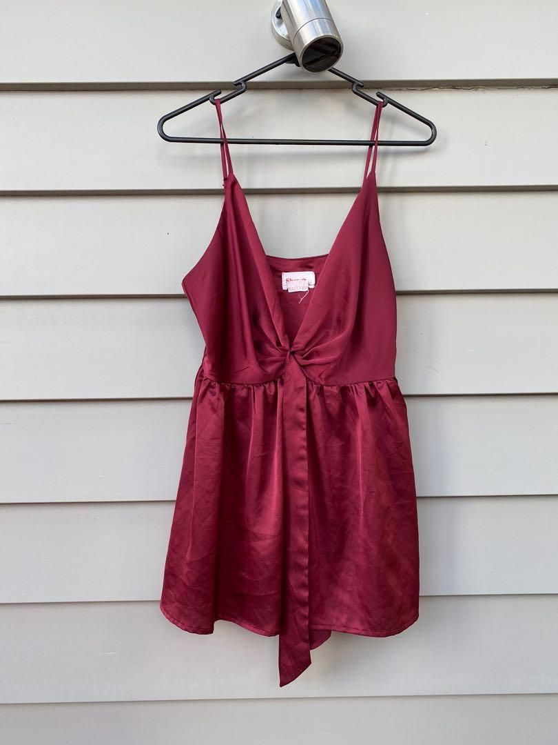 Wine red play suit