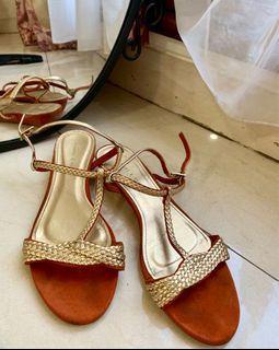 Charles & Keith Gold Orange Shoes Flat Heels