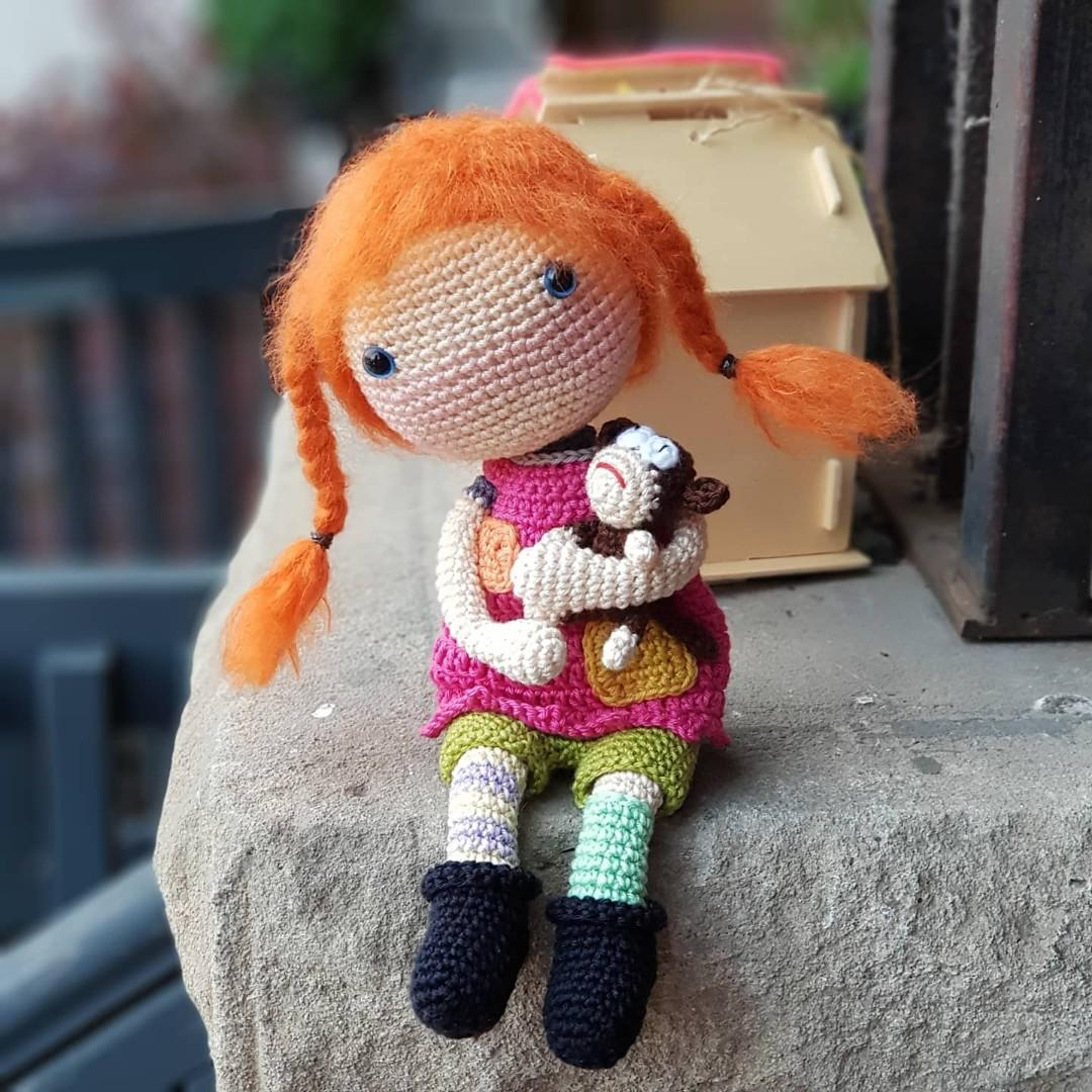 Crochet Pippa Longstocking & Mr Nilsson - Ready to ship
