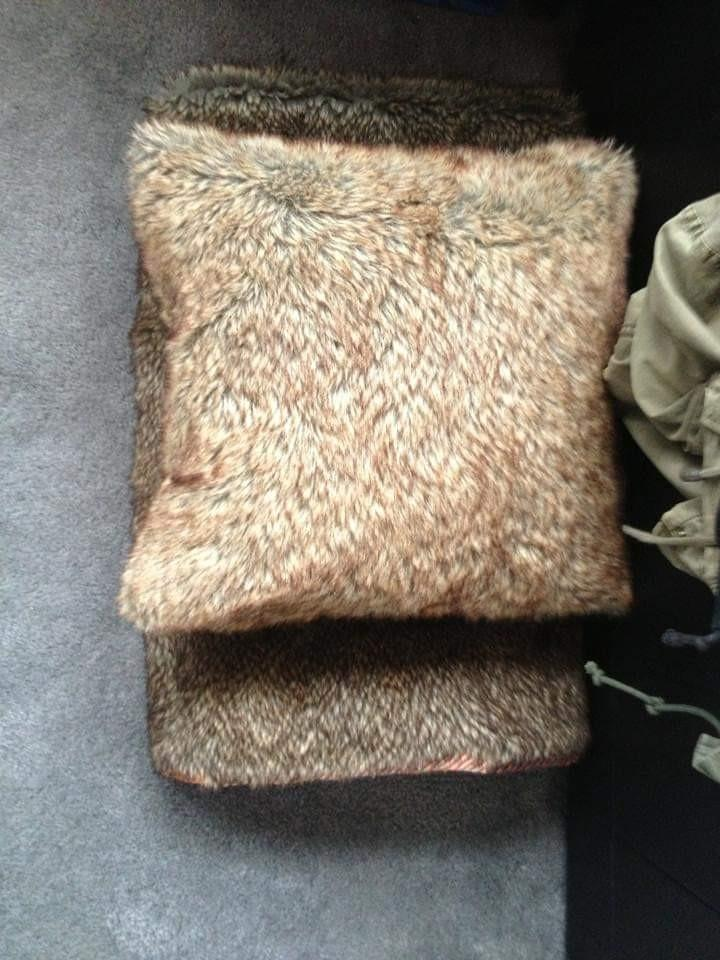 Fur cushion and matching blanket