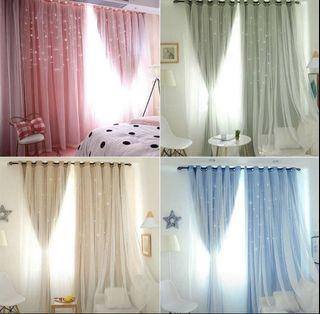 (Pre order)1 X 2m Hollowed Out Star Shading Window Curtain