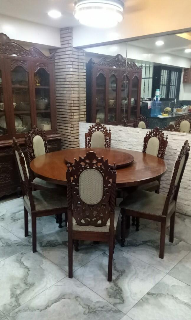 Round Dining Table With Lazy Susan And 6 Chairs Home Furniture Furniture Fixtures Tables Chairs On Carousell