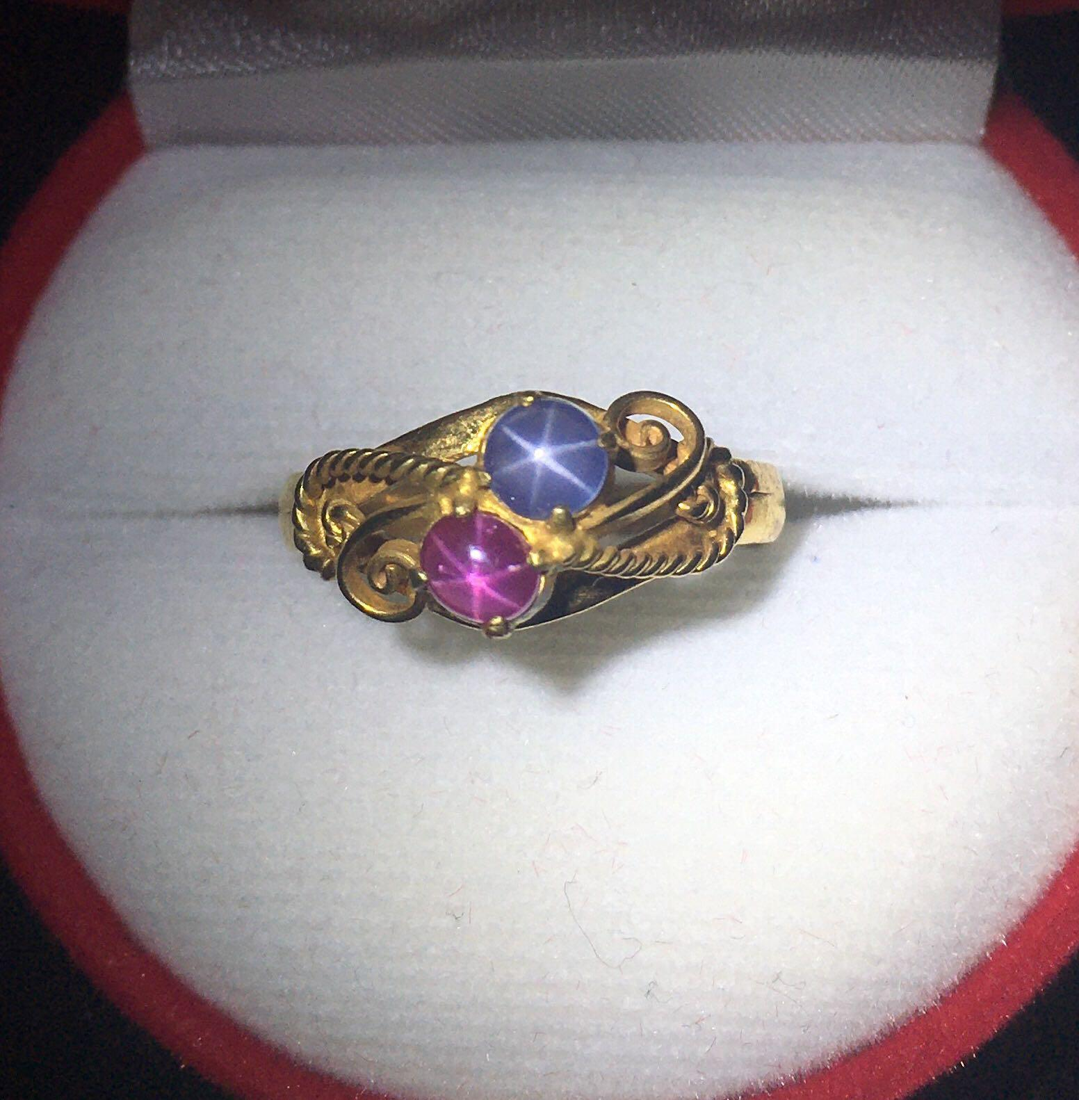 SALE!!!0.80 Cts Burma Star Ruby and Star Sapphire Ring