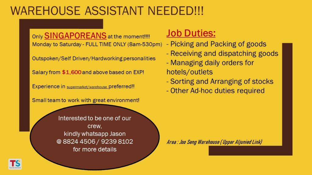 Warehouse Assistant / Storekeeper (Singaporeans ONLY)
