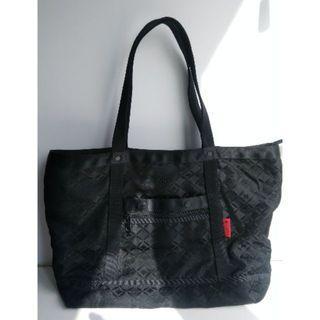 Porter 緹花 黑色 基本 大肩背包 A4 電腦 包 旅行包