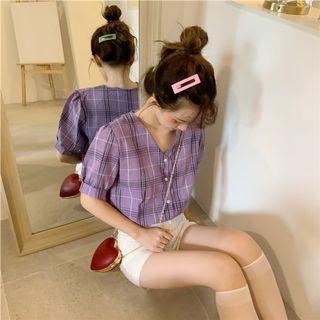 歐膩 格子短袖襯衫 短袖襯衫 格子襯衫 紫色格子襯衫