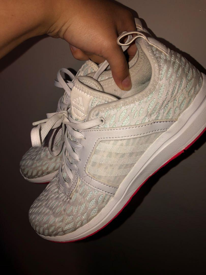 Adidas mint green and pink running shoes
