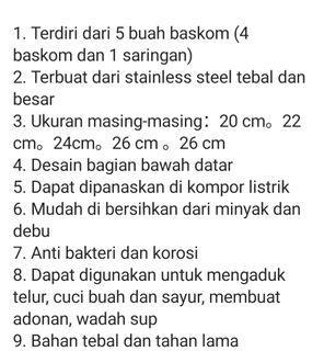 Baskom stainless steel 5in1