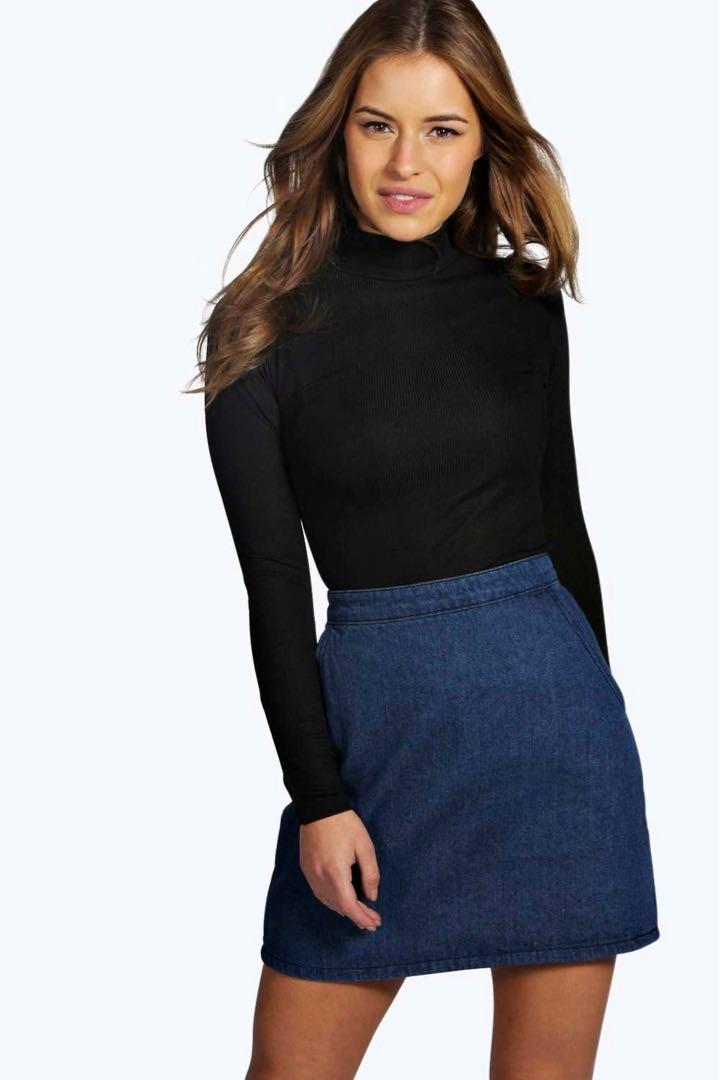 Boohoo Petite Ribbed Long Sleeve Turtle Neck Top