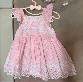 GAP 粉色雕花洋裝 12-18m