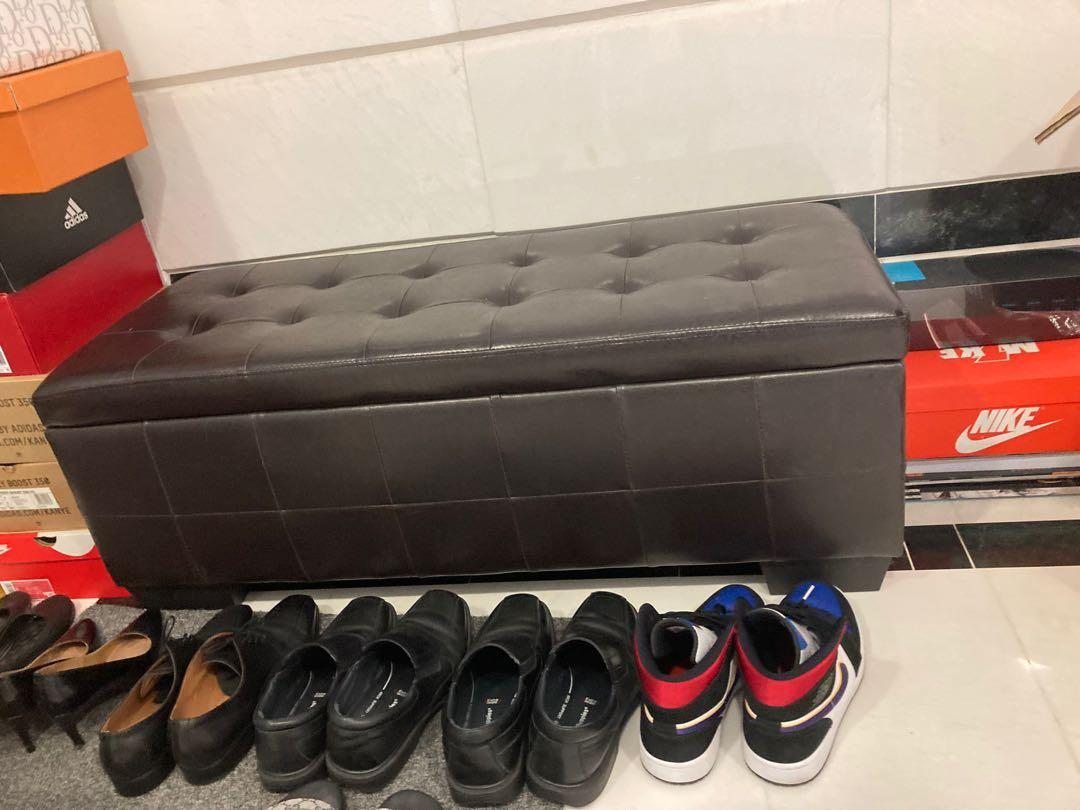 Leather Ottoman Storage Bench Furniture Others On Carousell