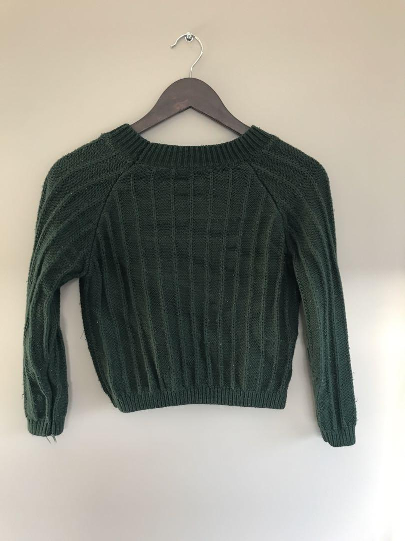 Petite forest Green cropped Knitted  sweater