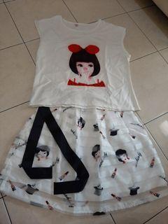 Set mini skirt n tops girl
