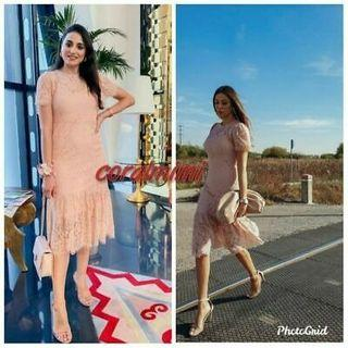 ZARA FRILLED RUFFLED LACE DRESS IN NUDE POWDER PINK Rare! Bloggers' FAVORITE!