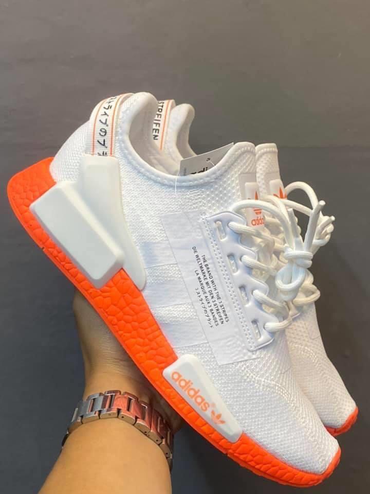 Adidas nmd r1 v2 white orange, Men's