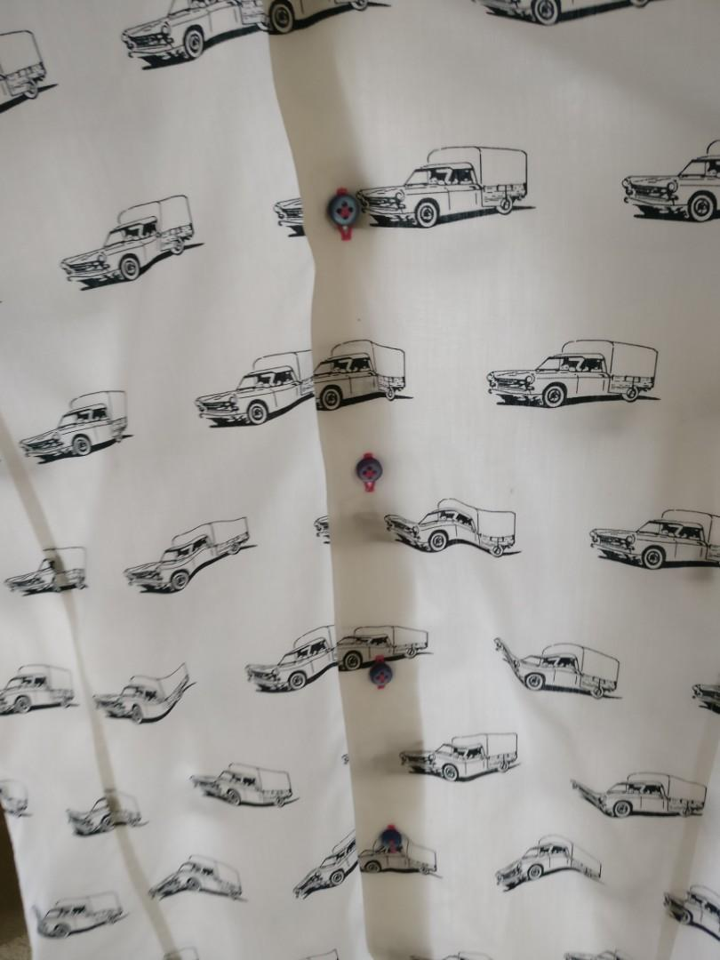Collared shirt with car pattern