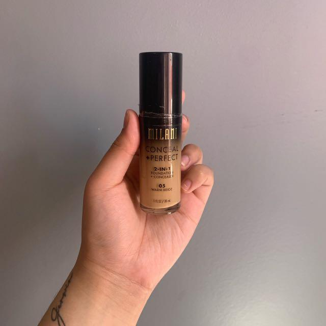 Milani Medium to Full Conceal + Perfect 2in1 Foundation + Concealer Shade 05 WARM BEIGE