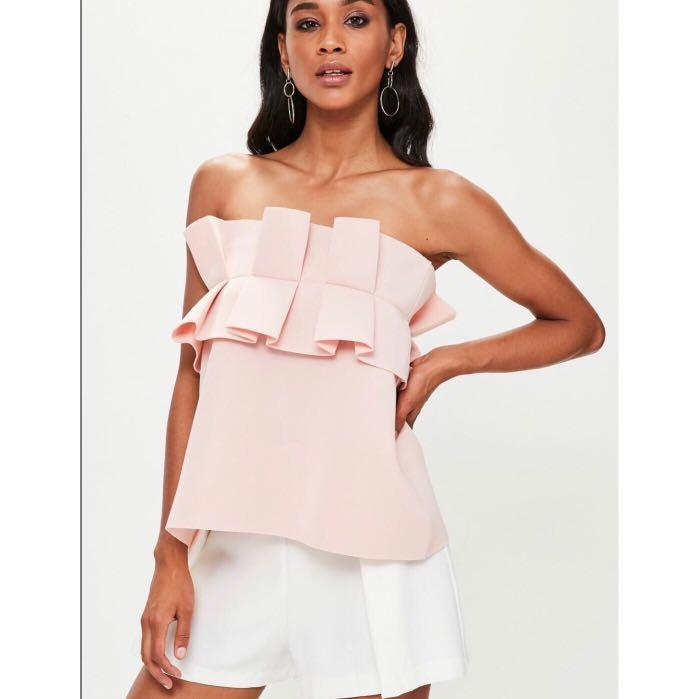 Missguided Nude Gathered Strapless Bandeau Top