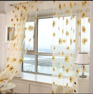 (Pre order)Sunflower Floral Sheer Curtain