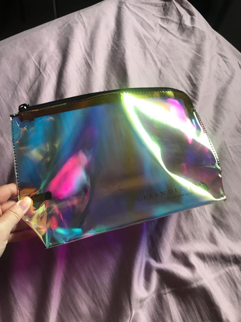 Urban Decay holographic makeup bag