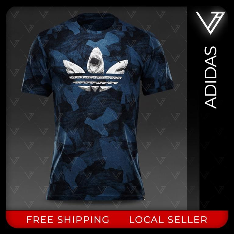 capitalismo ellos audible  adidas Originals Shark Trefoil T-Shirt, Men's Fashion, Clothes, Tops on  Carousell