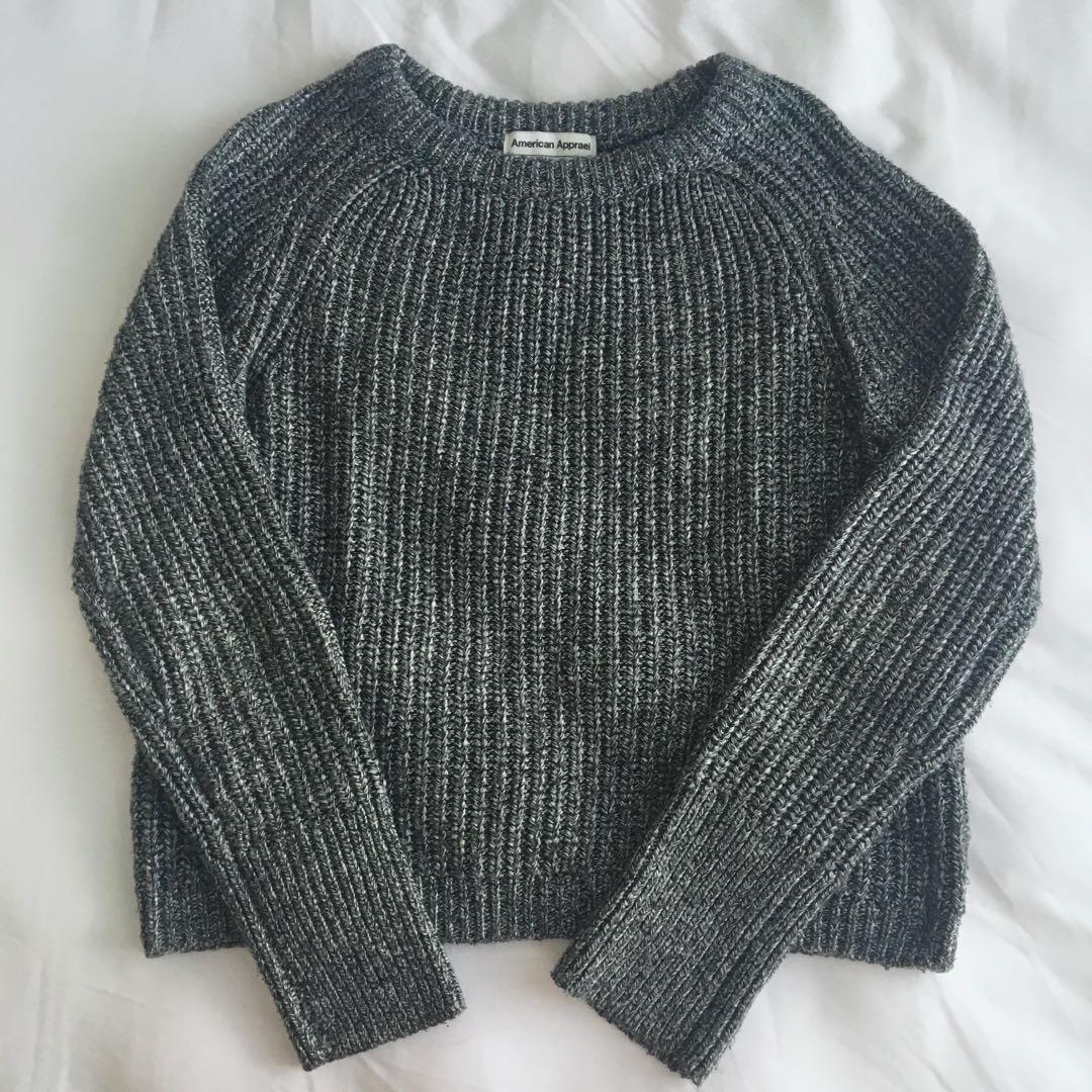 AMERICAN APPAREL salt & pepper knit sweater