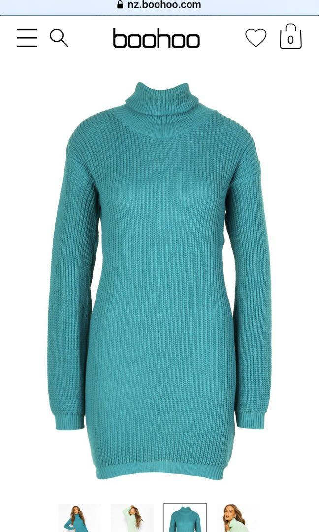 *BRAND NEW* BOOHOO Roll Neck Sweater Dress - TEAL, size S