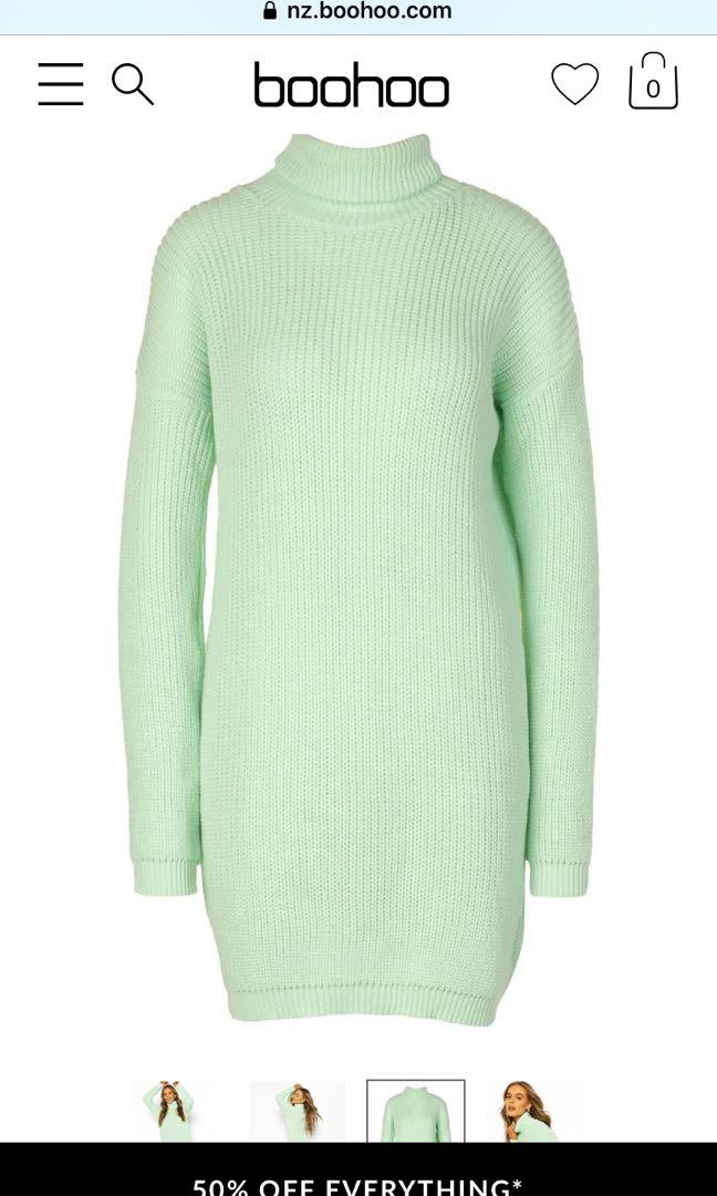 *BRAND NEW* BOOHOO Roll Neck Sweater - Sage, size S