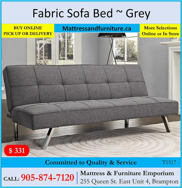 Linen-Style Fabric Sofa Bed ~ Grey